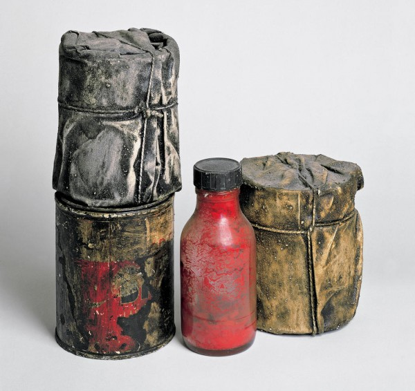 Wrapped-cans-and-a-bottle-1958