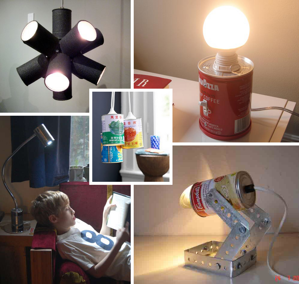 Upper left a tin can sputnik light via readymadeblogs upper right a coffee can light with a switch via designboom lower left a goose neck tin can