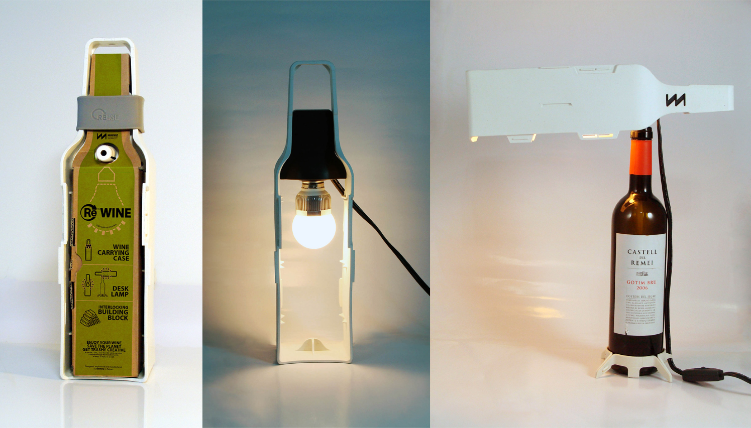 Modular wine bottle desk lamp beach for Wine bottle material