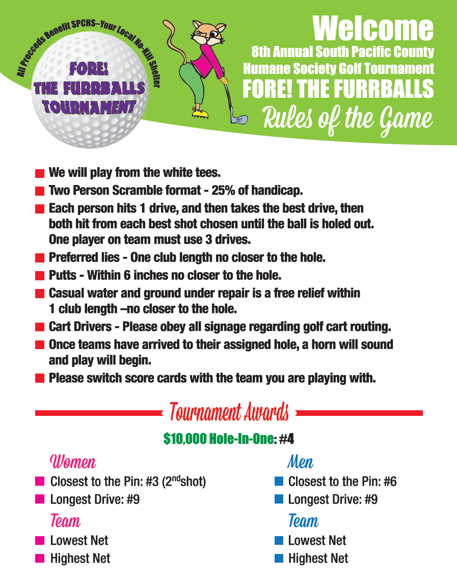 Fore The Furrballs Golf Tournament South Pacific County