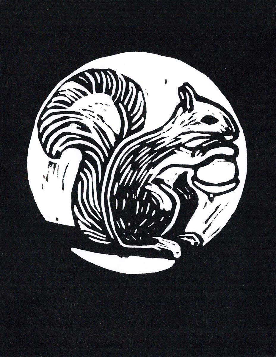 Hannah Burkhardt - Squirrel - Greeting Card – Lino Block 5″ x 4″