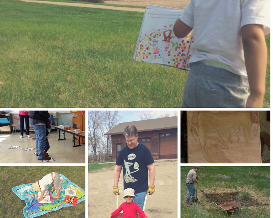 Little J running on the lawn, my painting or the Pekin Days Art Show, Josh gardening, Little J's wheelbarrow ride, reading on the lawn, cake walk.