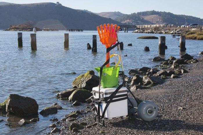Beach Cart Folding-Mini at the shoreline