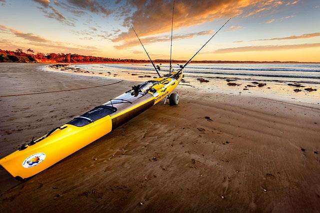 Stealth Kayak with Kayak Cart-Beach