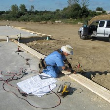 September 2, 2011 Donald Wilbanks laying out the walls.