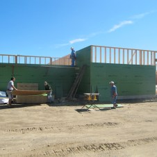 9/16/11 Dave, Bob, Ray, Don, Billy, & Pastor Bill putting up wall sheathing.