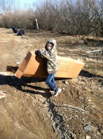 1/14/12 CJ hauling cardboard debris