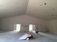 3/23/12 Back of auditorium--sheet rock is complete. Taping and mudding begins tomorrow!!!