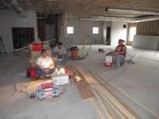 3/13/12 Sheetrock guys having lunch in fellowship hall.