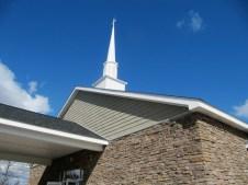 3/21/12 Pretty stones, siding, and steeple against the pretty blue sky