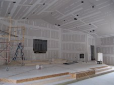 3/26/12 Stage & ceiling taped & mudded
