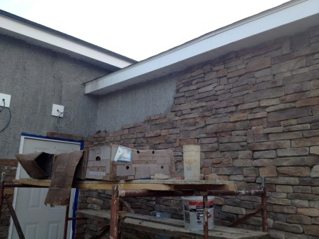 4/16/12 Chris & Gordon almost have that wall done!!!