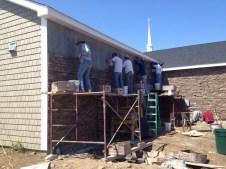 4/25/12 Christy, Brannon Miller, Matt Gedeon, Brian Miller, and Chris Kairnes working on the stone wall