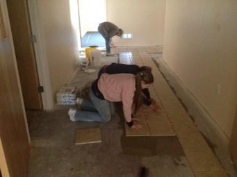 4/28/12 Brian, Gary, & Hannah laying tile