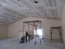 4/9/12 getting ready to put the first coat on the auditorium ceiling–Ray, Matt, & John Buschmann (back from VA)