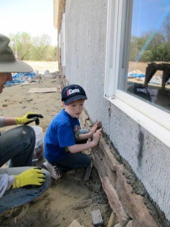 4/18/12 CJ Crain putting up a stone.