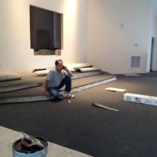5/22/12 Gary installing platform carpet