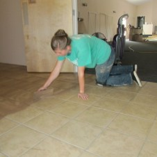 5/26/12 Michaela spreading grout