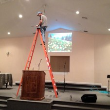 7/15/12 Pastor Bill adjusting the projectors