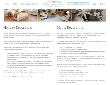 Home staging additional web copy