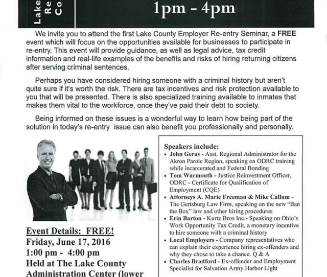 Employer Re Entry Seminar June 17 2016