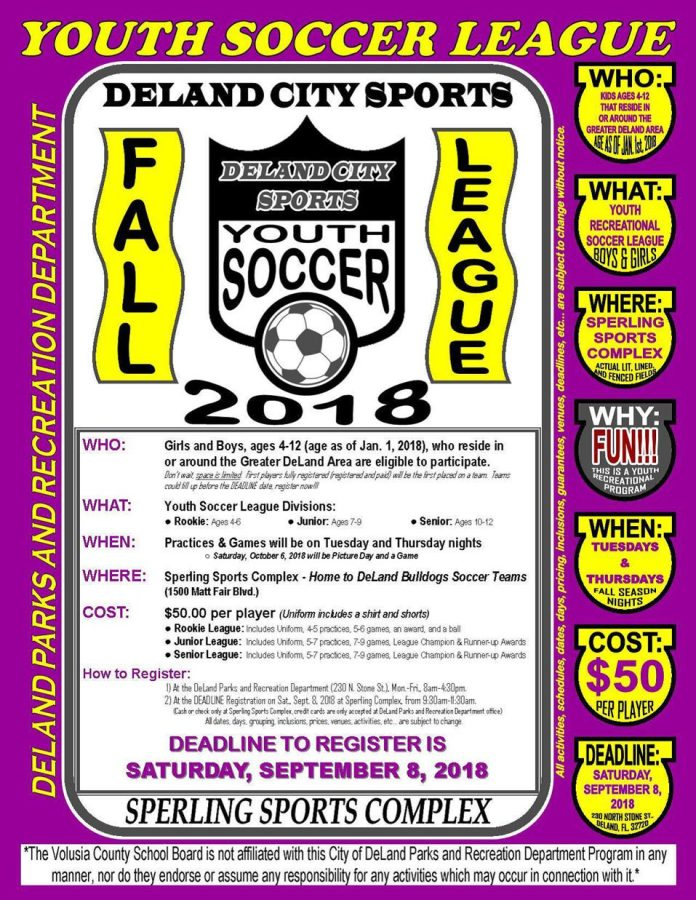 DeLand fall youth soccer leagues start registration
