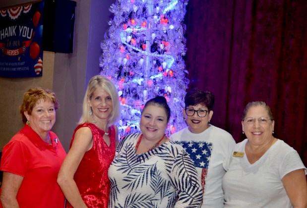 <p><p><strong>PULLING IT ALL TOGETHER</strong>— Organizers of the event, from left,Mary Kay Coloni, Gateway Center for the Arts Director Terri Hoag, Gateway Center for the Arts Fund Raiser Marianne Ruggles, Fran Weller, DeBary Council Member Phyllis Butlien pose in front of a light-up Christmas tree. Hoag said she was happy Gateway Center and the City of DeBary could show appreciation for first responders.</p></p><p>PHOTO COURTESY GATEWAY CENTER FOR THE ARTS</p>