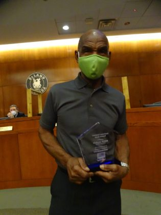 """<p><p><strong>A TRUE NEIGHBOR —</strong> Robert Gillislee was recognized for his work pulling trash to the curb in his neighborhood for busy individuals and those unable to lug the trash toters.</p><p>""""This community member truly has a servant heart and works to ensure that every member of his community is cared for and is treated like family. This man of few words definitely embodies what it means to love your community and the principle of service above self,"""" Shilretha Dixon said in presenting the award.</p></p><p>BEACON PHOTO/MARSHA MCLAUGHLIN</p>"""