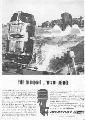"""<p><p><span id=""""docs-internal-guid-696d4841-7fff-42a2-d285-ae16ddd0d1ac""""><strong>PULLS AN ELEPHANT…</strong> <span>— This advertisement from 1965 is for the engine that powered the boat that pulled Queenie. While Queenie was the only elephant to water ski at DeLeon Springs, another notable water-skiing elephant, trained by the same water skiers, was Sunshine Sally. Sally was best-known for her ski shows in Sarasota.</span></span></p></p><p></p>"""