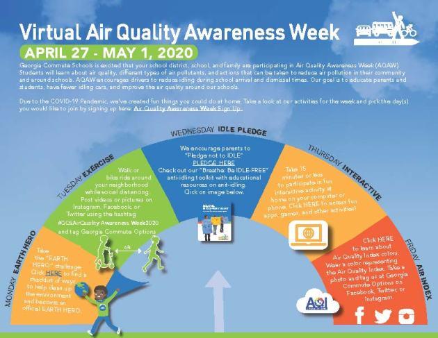 Virtual Air Quality Awareness Week Calendar