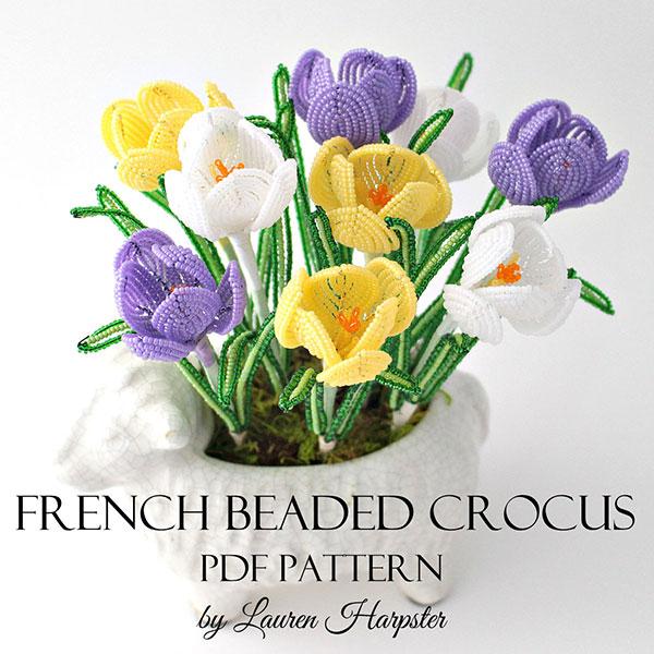 French Beaded Crocus Pattern by Lauren Harpster
