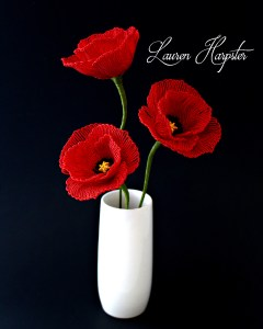 French Beaded Poppies by Lauren Harpster