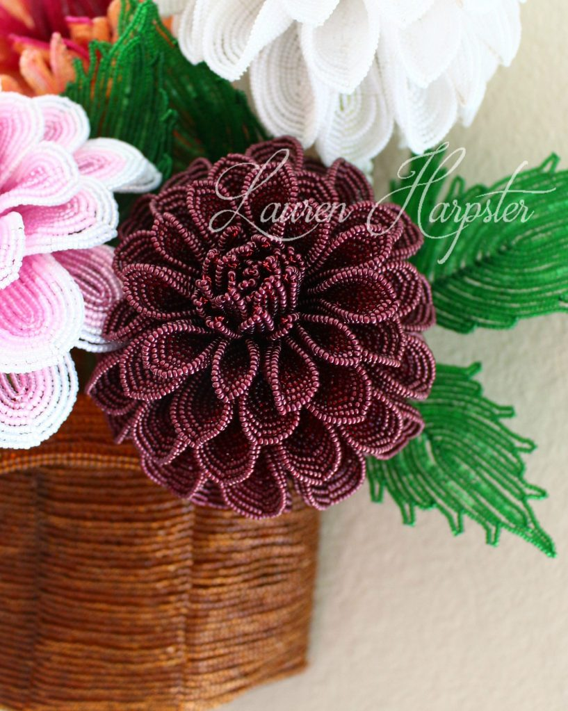 French Beaded Ball Dahlia by Lauren Harpster
