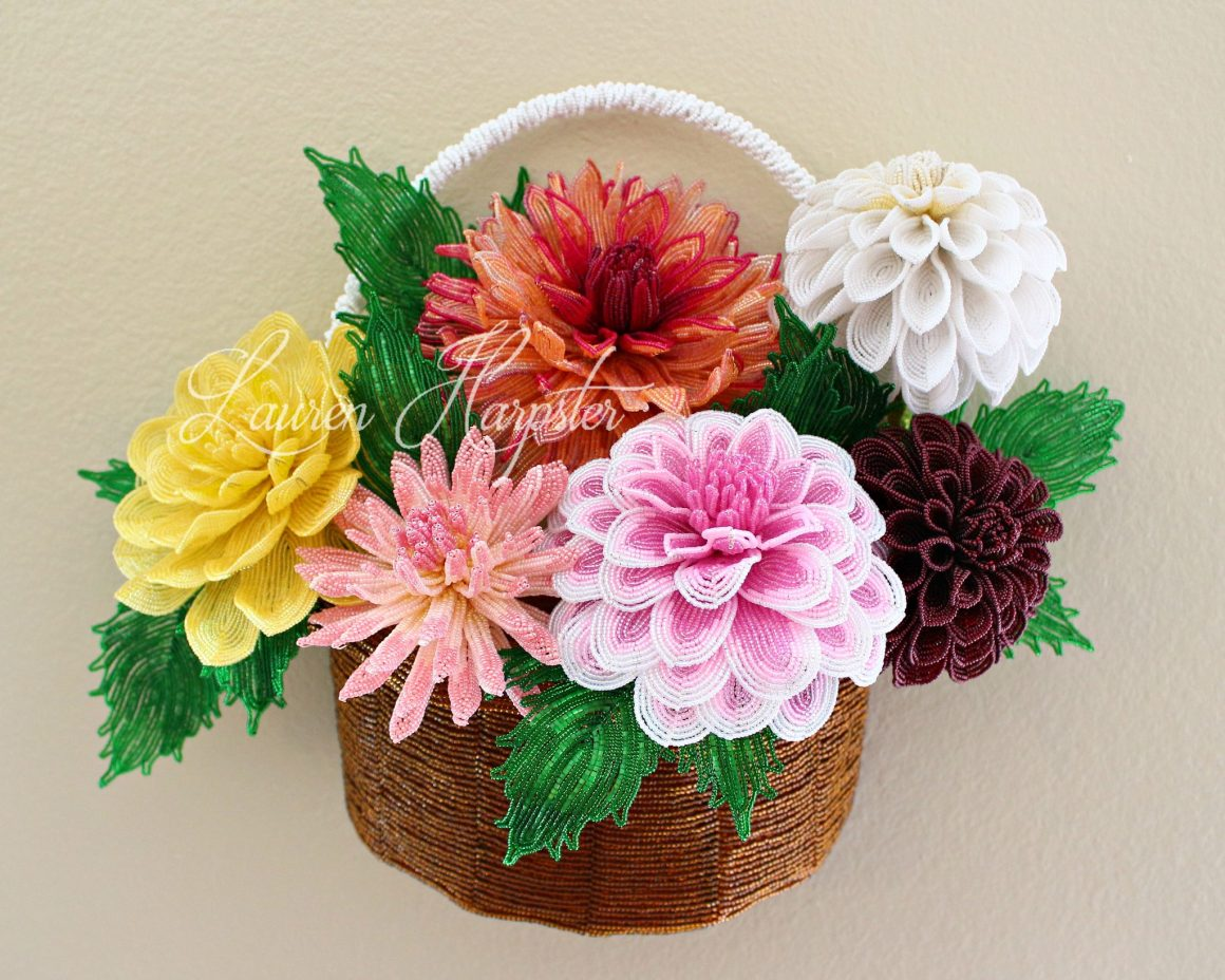 French Beaded Dahlia arrangement by Lauren Harpster