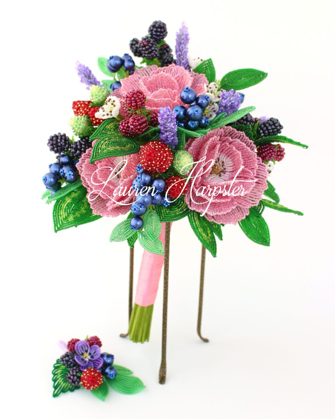 French beaded berry and rose wedding bouquet by Lauren Harpster