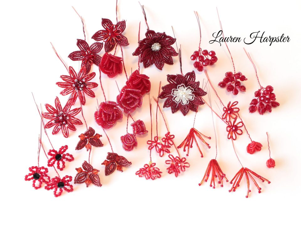 Red French Beaded Flowers by Lauren Harpster