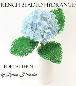 French Beaded Hydrangea pattern by Lauren Harpster