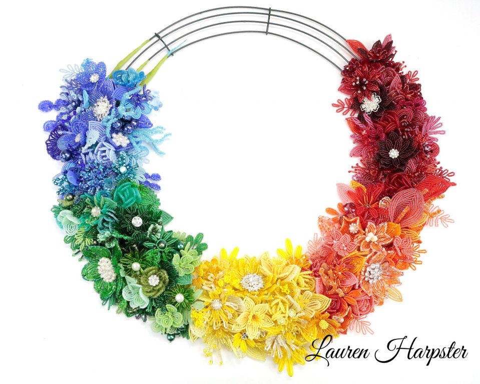 French Beaded Flower wreath by Lauren Harpster - 2018 One-A-Day Color Wheel Project