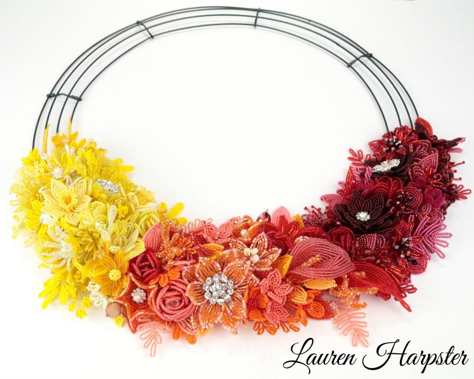 2018 One-A-Day French Beaded Flower wreath by Lauren harpster