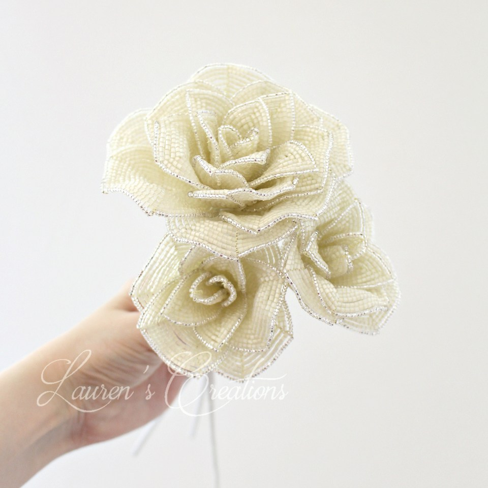 French Beaded Ivory roses by Lauren Harpster