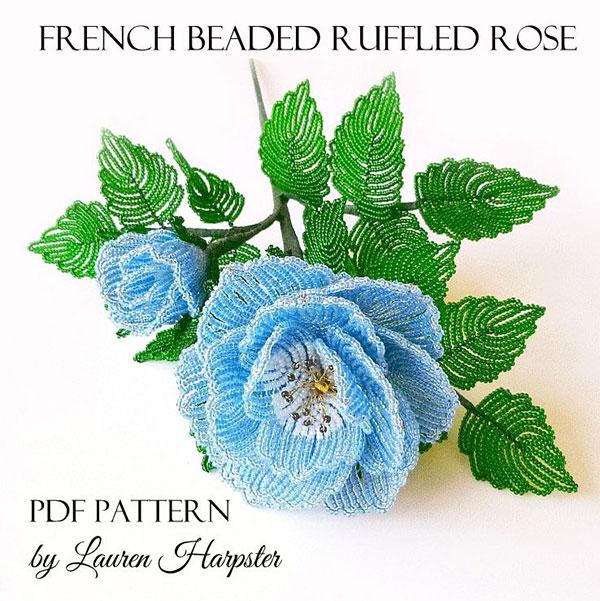 French Beaded Ruffled Rose pattern by Lauren Harpster