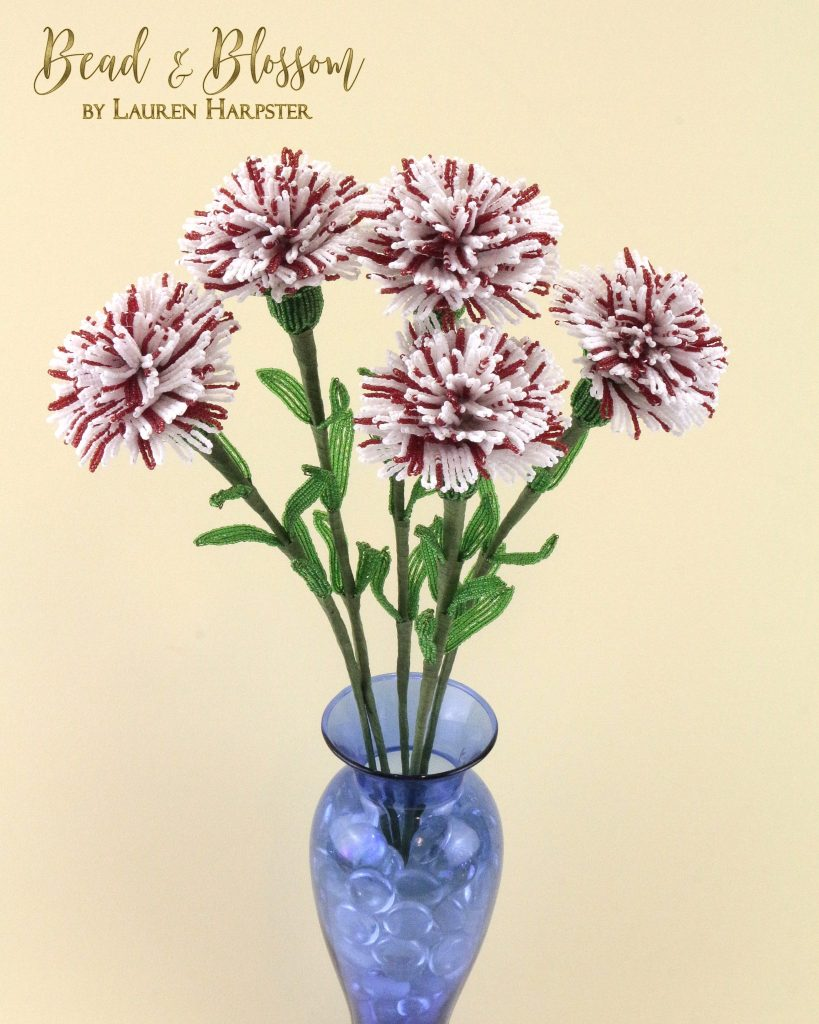 French Beaded Striped Carnations by Lauren Harpster