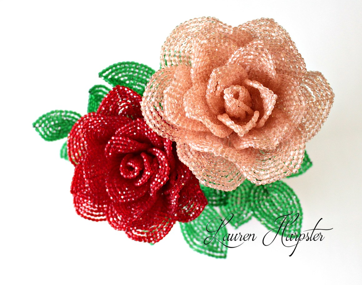 French Beaded Roses by Lauren Harpster
