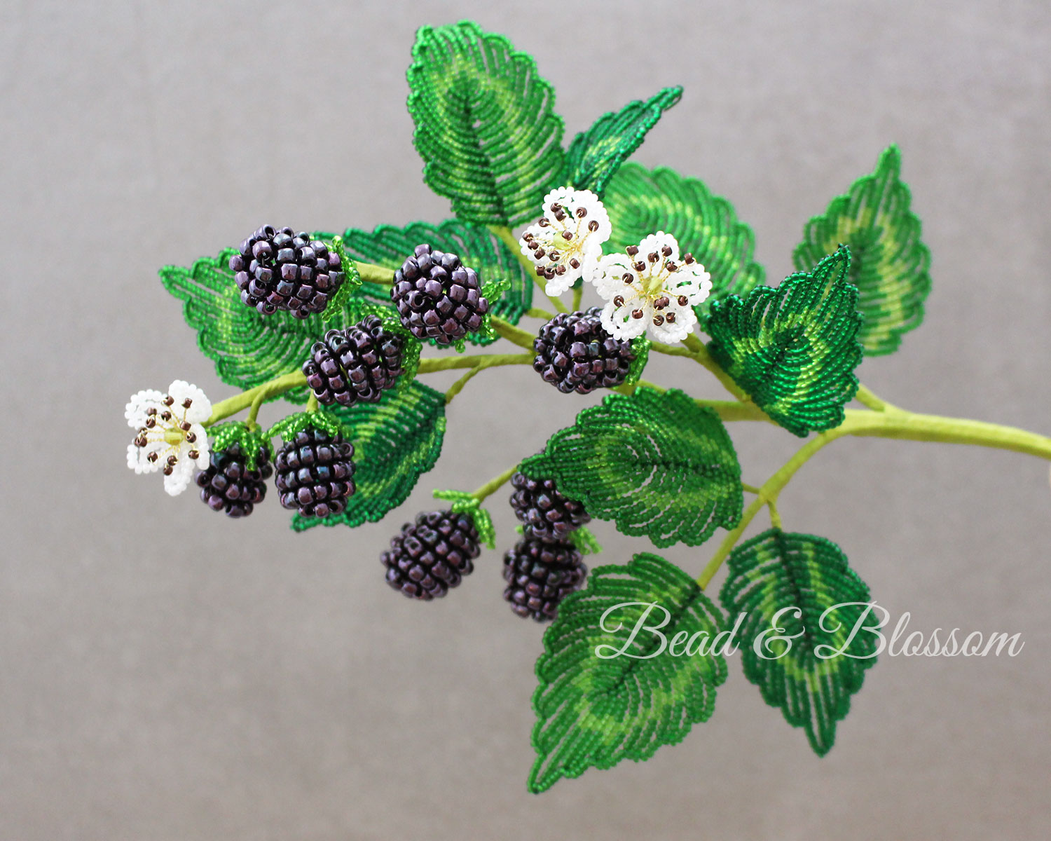 French Beaded Blackberry branch by Lauren Harpster and Suzanne Steffenson
