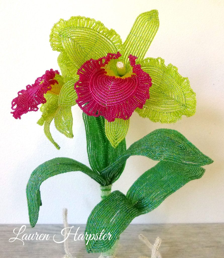 French Beaded Cattleya Orchid Sculpture by Lauren Harpster