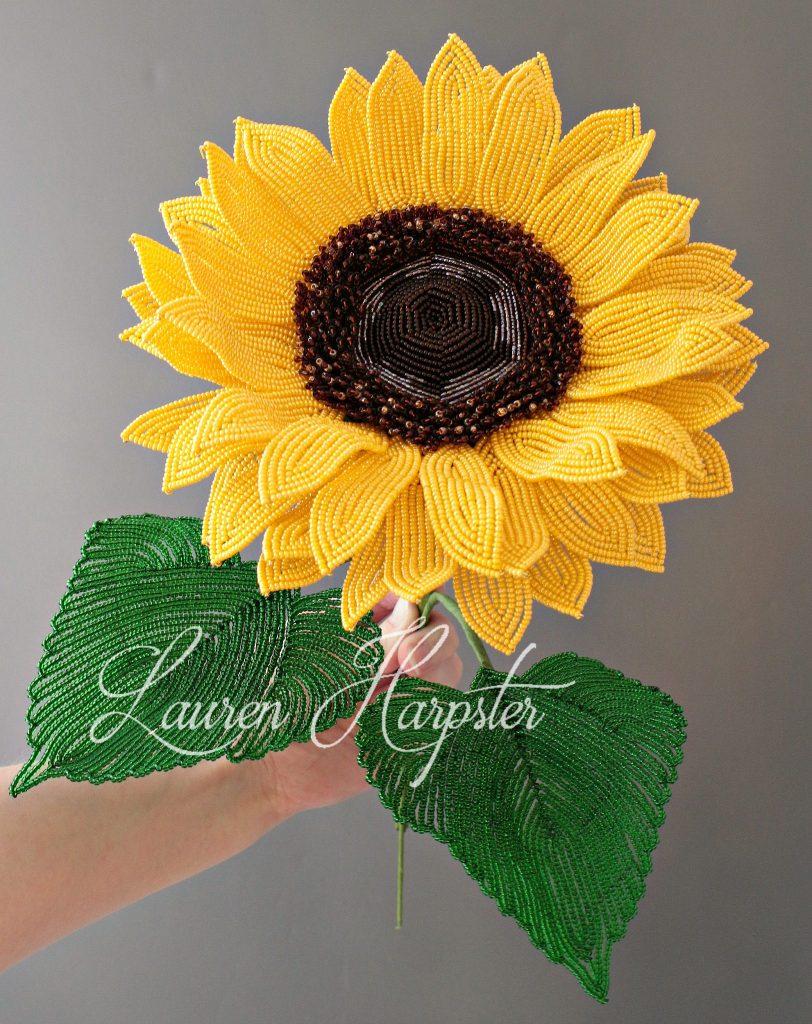 French Beaded Sunflower by Lauren Harpster