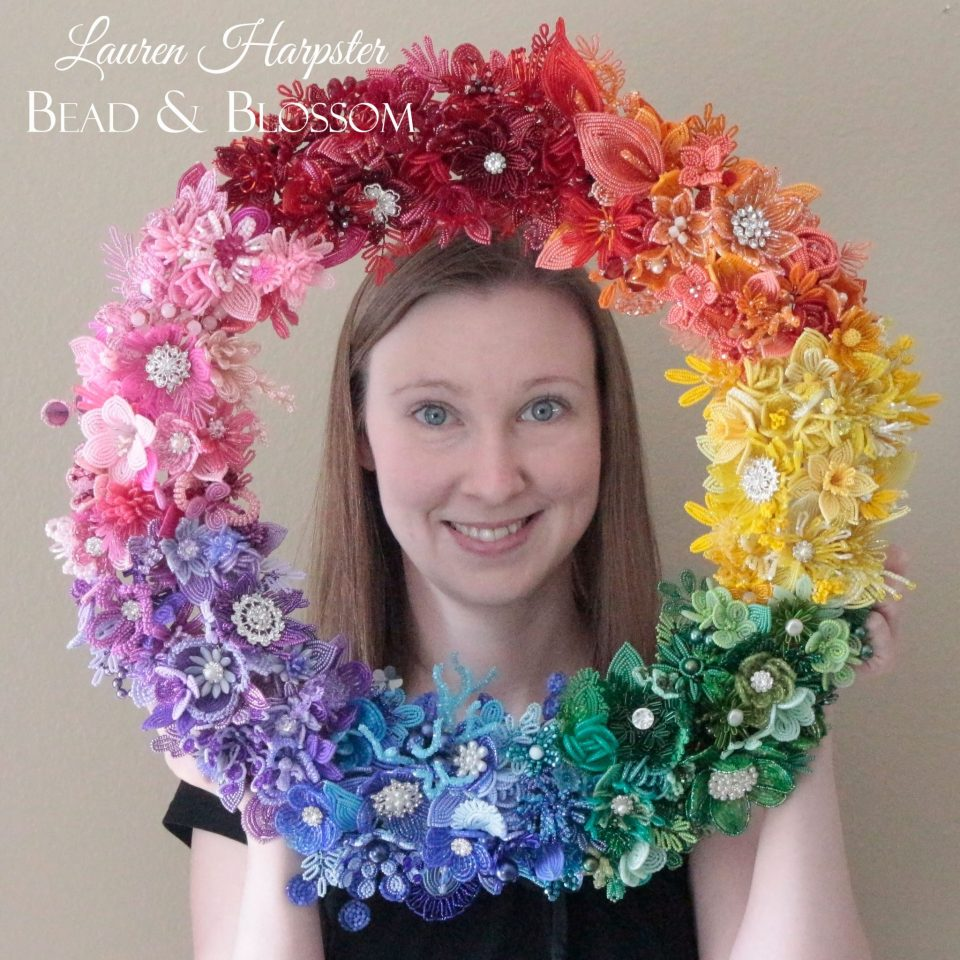 French Beaded Rainbow wreath by Lauren Harpster