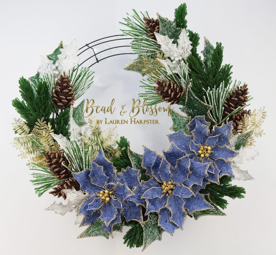 French Beaded Christmas Wreath by Lauren Harpster