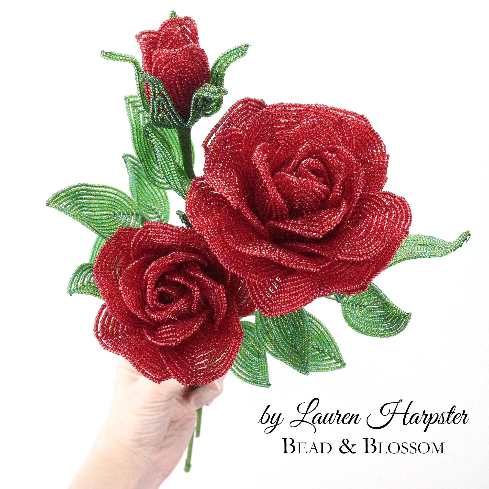French Beaded Rose Pattern by Lauren Harpster from Bead and Blossom