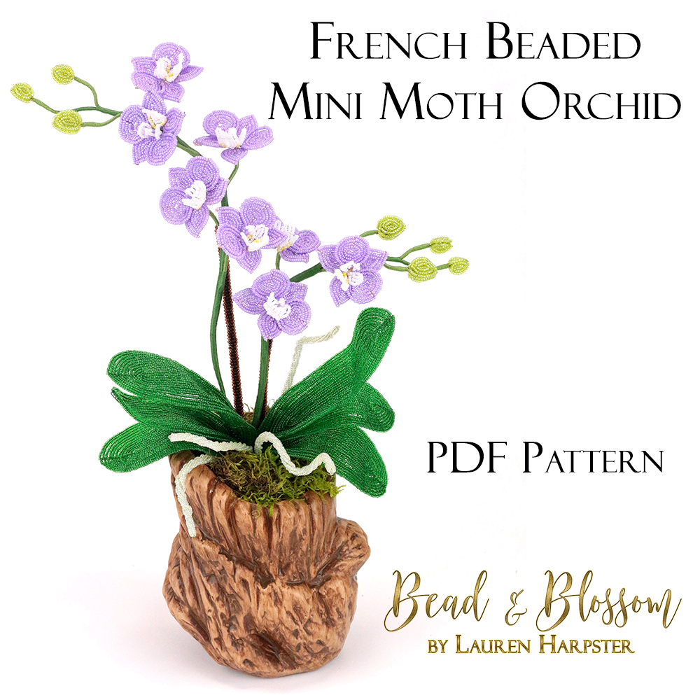 French Beaded Miniature orchid pattern by Lauren Harpster